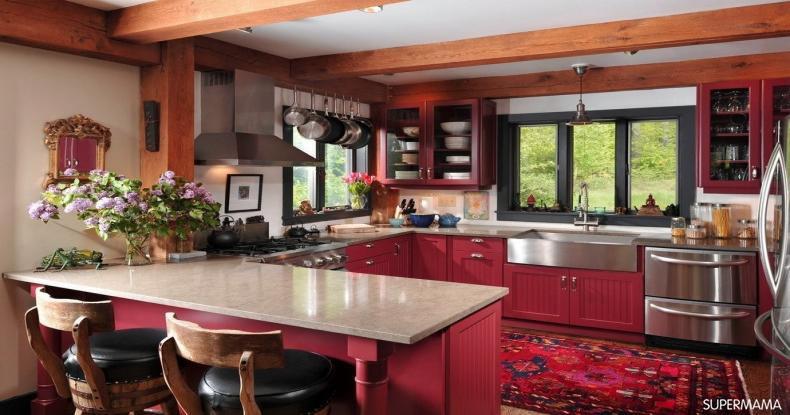 أفكار عصرية لمطابخ باللون الأحمر 6