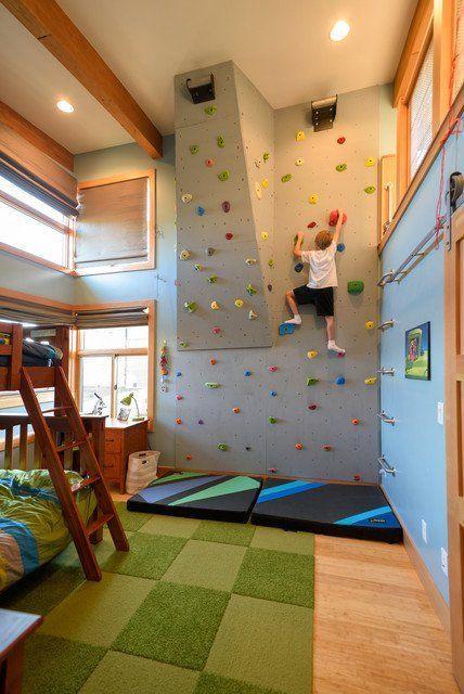 صور غرف نوم أطفال - حائط تسلق في الغرفة