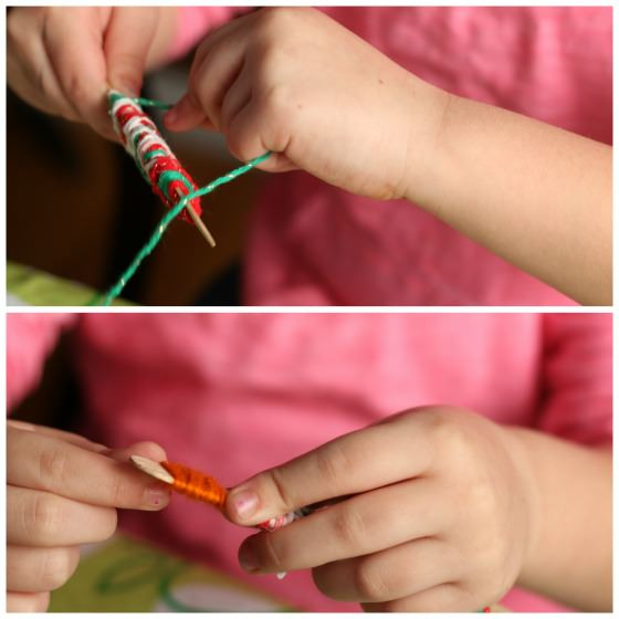 أعمال من الصوف للأطفال - دمى بعصيان خشبية