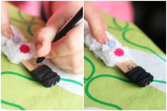 أعمال من الصوف للأطفال - لارسم على الدمى الخشبية