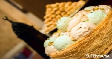 إعداد الحلويات في المنزل - كنافة بالآيس كريم