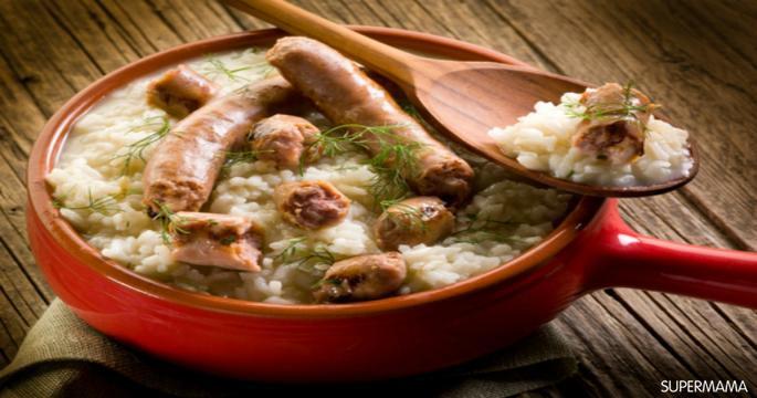 وصفات بالأرز - طريقة عمل أرز بالكريمة والسجق