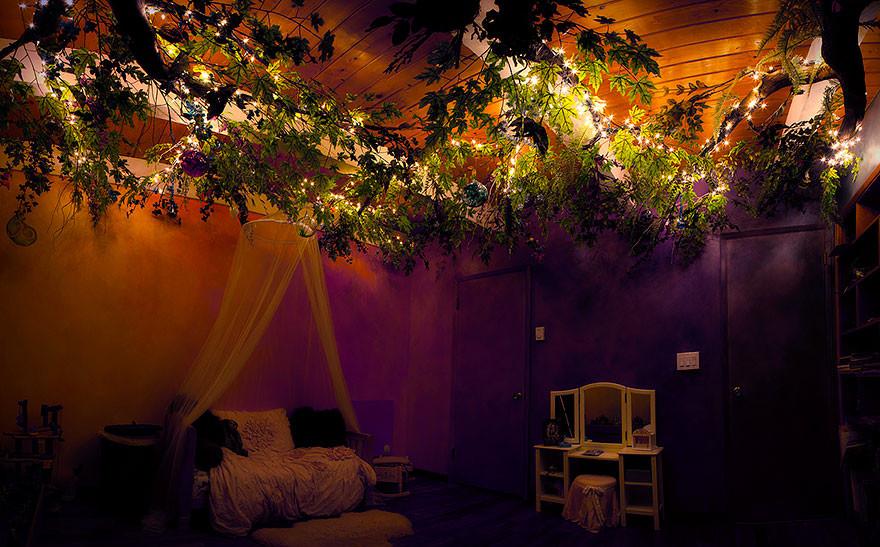 ديكور غرفة أطفال - طلاء الغرفة والشجرة المعدنية