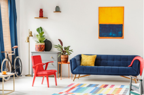 ديكور شقق - البرتقالي والأزرق