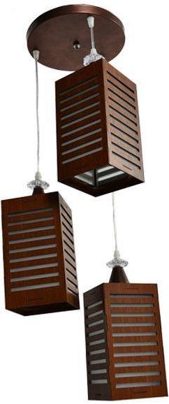 أشكال الإضاءة المنزلية - نجف خشب على شكل صندوق