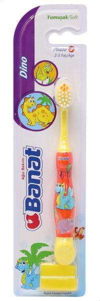 أفضل أنواع فرشاة أسنان للأطفال - فرشاة أسنان ناعمة للأطفال دينو من بانات برتقالي أصفر