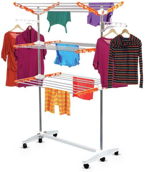منتجات غسيل الملابس - منشر غسيل 3 أدوار متحرك من معدن