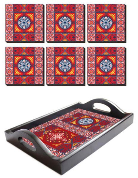 أطقم سفرة رمضان - صينية تقديم رمضانية مع 6 قواعد أكواب من فوتو بلوك - أحمر