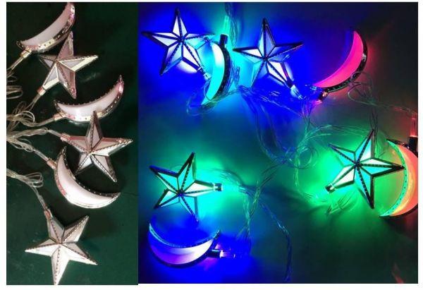 تزيين المنزل في رمضان - فروع نور على هيئة هلال ونجوم مضيئة