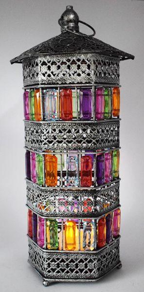 أشكال فوانيس رمضان 2019 - فانوس معدني ملون