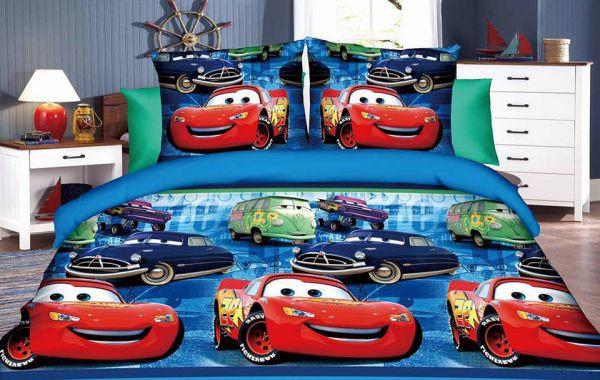 ملايات سرير أطفالثلاثية الأبعاد - طقم ملايات أطفال على شكل أبطال فيلم كرتون سباق السيارات cars