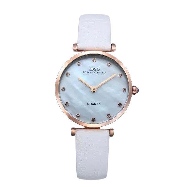 أفضل الساعات النسائية - اي بي اس او ساعة رسمية نساء انالوج بعقارب جلد طبيع