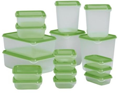 أفكار لتنظيم الثلاجة - طقم علب حفظ الطعام ايكيا (17 قطعة)