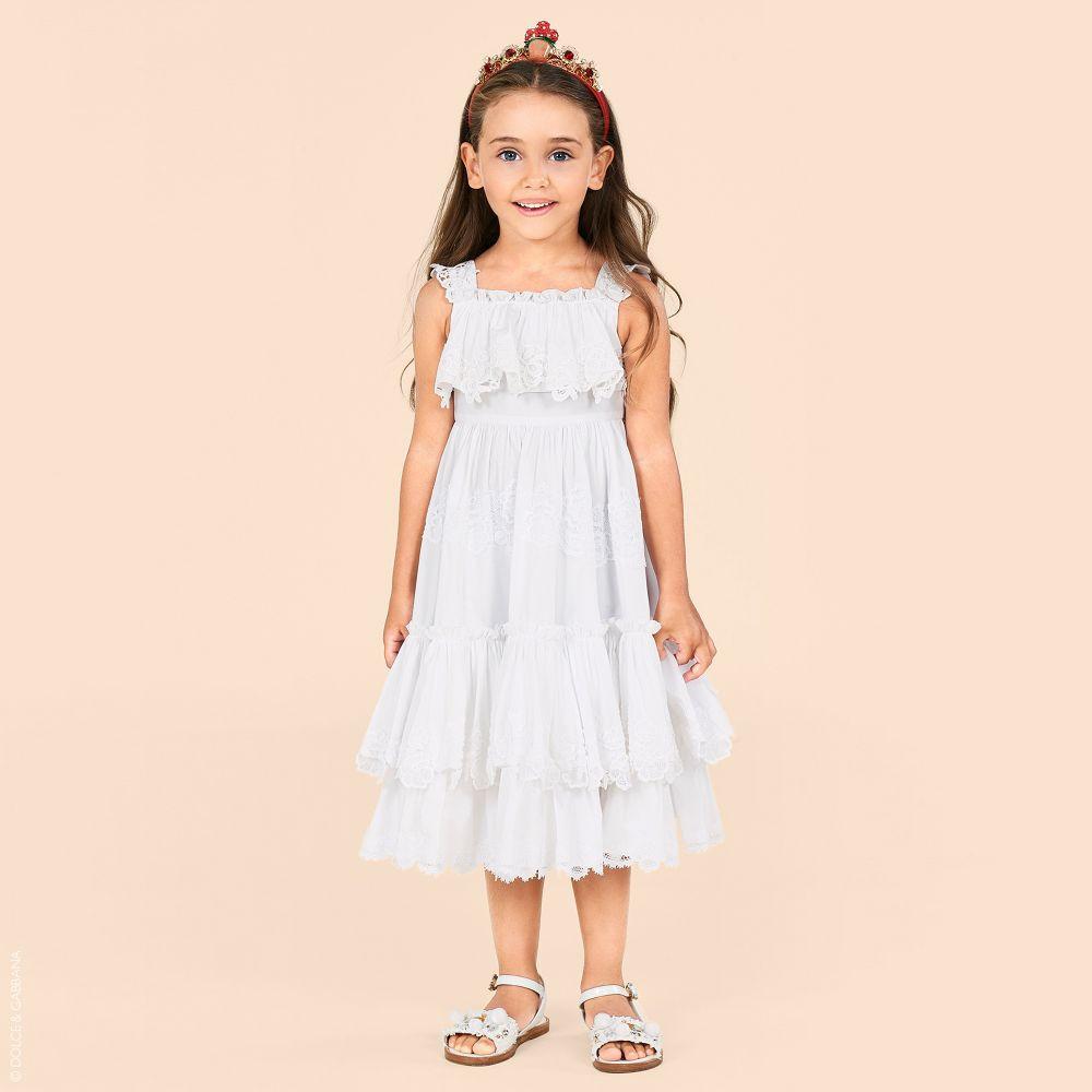 فساتين دولتشي آند غابانا للأطفال - فستان قطني أبيض
