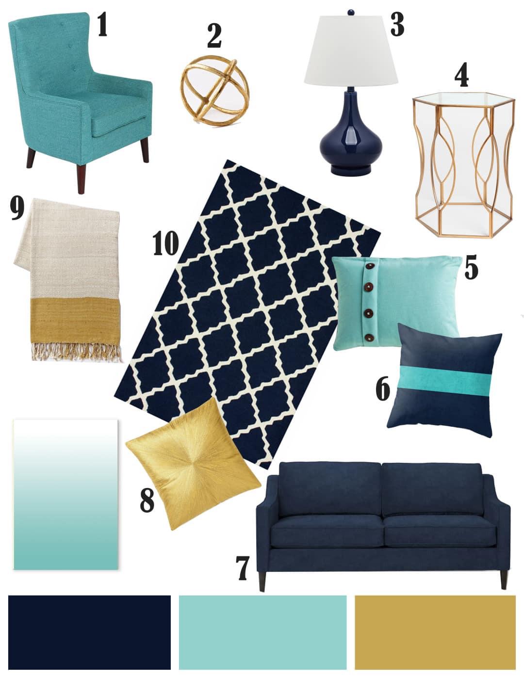 تنسيق ألوان ديكور المنزل - اللون الأزرق في الأثاث