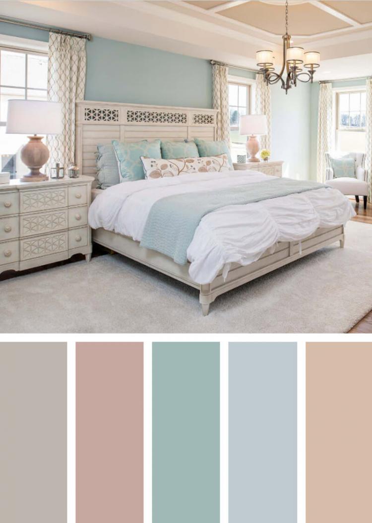 تنسيق ألوان ديكور المنزل - ألوان الباستيل في غرف النوم
