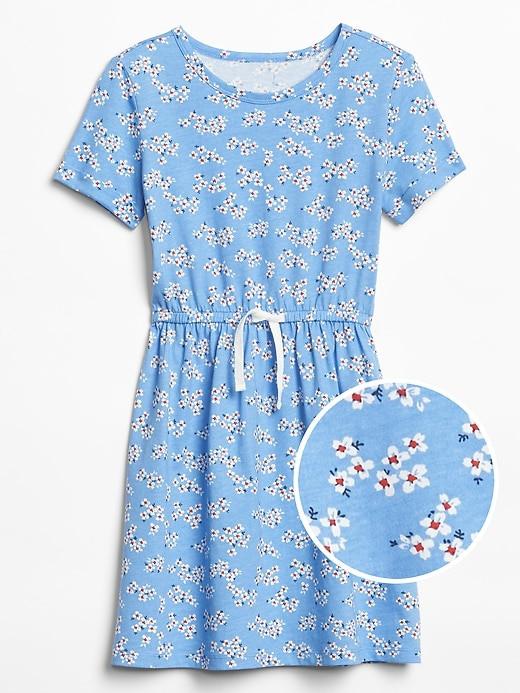 ملابس أطفال صيفي-فستان بناتي أزرق بالورود