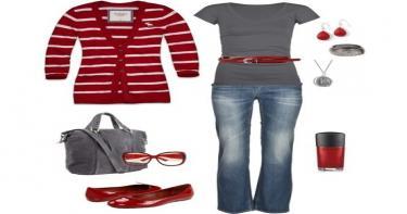 تنسيق اللون الأحمر والرمادي في الملابس