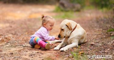 لعب الأطفال مع الكلاب