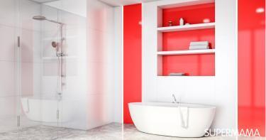 بالصور ديكور الحمام باللون الأحمر