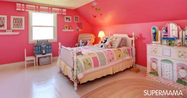 ديكورات غرف نوم أطفال بنات باللون الوردي