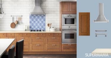 المطبخ الخشب بالسطح العاجى