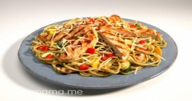 مكرونة بيستو بالدجاج و الخضروات
