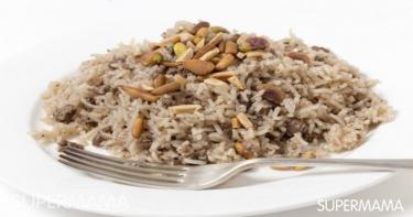 أرز باللحم المفروم والمكسرات