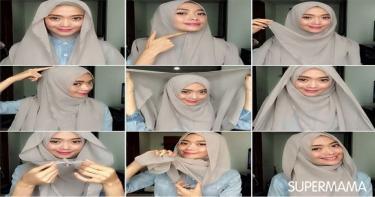 ربطات حجاب تناسب الوجه المربع 2