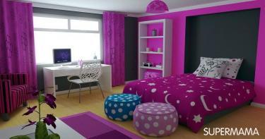 غرفة باللون البنفسجي