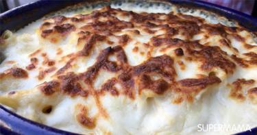 طريقة عمل مكرونة بالبشاميل والفراخ الكرسبي والجبن سوبر ماما